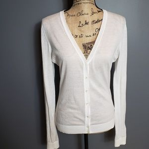 J.crew cotton v neck white cardigan size medium